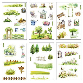 Sticker Dán Trang Trí Sổ Nhật Ký ( Nhiều Mẫu), 6 Tấm