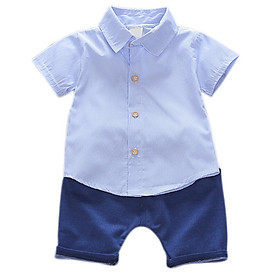 Summer Baby Boy Clothing Sets White Clouds Stripe Print T-shirt Tops+Denim Shorts Outfits Sets