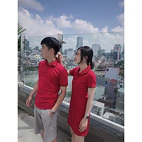 Set đồ đôi áo váy cặp CoupleTina 100% cotton cao cấp - Màu Đỏ Đô