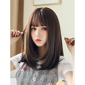 Tóc giả nguyên đầu cup vai kiểu Hàn Quốc siêu xinh có rãnh da đầu, chất tóc tơ cao cấp loại 1, chịu nhiệt tốt có thể bấm uốn, duỗi, gội. giống tóc thật 100%( Kèm lưới và lược )
