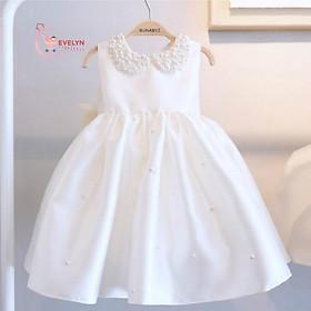 Váy công chúa trắng đính nơ sau lưng cho bé từ 1 - 12 tuổi