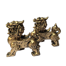 Cặp tượng đá trang trí tỳ hưu - màu nhũ vàng