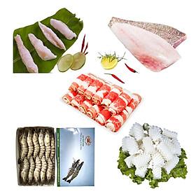 Combo 19: 500gr gân cá ngừ + 500gr cá mú fillet + 500gr ba chỉ bò Mỹ cuộn + 500gr Tôm sú nguyên con size 15 con + 500gr mực cắt hoa.