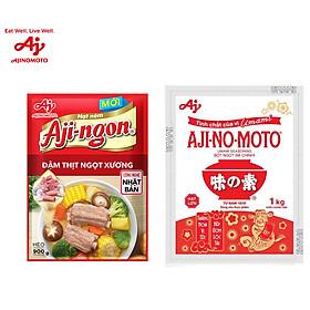 [COMBO 12] 2 Bột ngọt AJI-NO-MOTO 1kg + 1 Hạt nêm Aji-ngon 900g