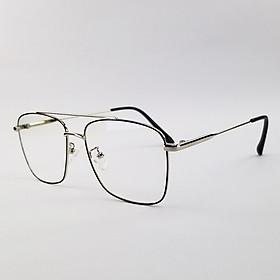 Gọng kính nam nữ mắt cận kim loại màu đen, bạc SA3076. Tròng kính giả cận 0 độ chống ánh sáng xanh, chống tia UV