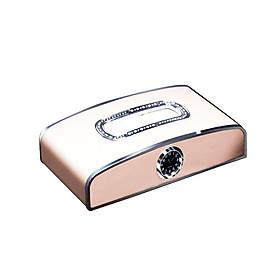 Hộp đựng khăn giấy kiêm bảng số điện thoại và đồng hồ cao cấp trang trí và để taplo ô tô - Kích thước:11.5x4x21cm