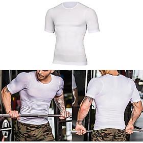 Mens Slim Compression Fitness Chest Body Shaper Underwear Short Sleeve