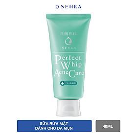 Sữa rửa mặt dành cho da mụn Senka Perfect Whip Acne Care 100g - Tặng Kem dưỡng trắng da ban đêm Senka 15g