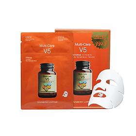 Hộp 11 mặt nạ chống lão hóa - trẻ hóa da - nâng cơ mặt 3 bước Rainbow Laffair Multi-Care V5 Vitamin Skin Renewal