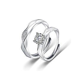 Cặp nhẫn bạc Tình yêu pha lê