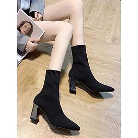 Bốt Lửng,Boot nữ, boots chun nữ da 7p,Bốt  mềm cao cấp mẫu hot 2021