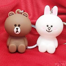 Móc khóa cặp đôi gấu Brown và thỏ Cony siêu dễ thương