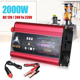 3000W Car Power DC12V to AC220V Car Modified Sine Wave Power Inverter USB Digital Display Portable Charger Converter