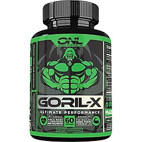 GORIL-X Men's Performance Pills - All Natural Enlargement Booster Increase Size, Strength, Energy, Testosterone & Endurance - 1000mg Enhancing Horny Goat Weed - 1 Month Supply
