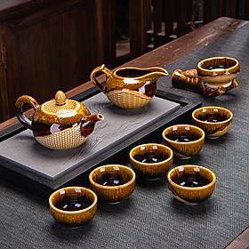 Bộ cốc chén pha trà đạo, bộ ấm pha trà sứ họa tiết vân ốc sên cao cấp