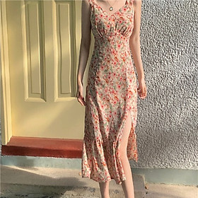 Đầm Voan Hai Dây Cổ Tim In Họa Tiết Hoa Trang Nhã Dành Cho Nữ