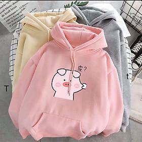 Áo hoodie nữ hình con heo véo má chất liệu bằng nỉ phù hợp cho mùa thu đông thiết kế trẻ trung năng động