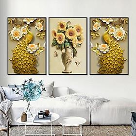 Tranh Canvas treo tường nghệ thuật | Tranh bộ nghệ thuật 3 bức | HLB_097