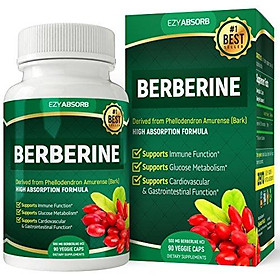 EzyAbsorb Gluten-Free Berberine with Milk Thistle 500mg, 90 Veggie Capsules for Blood Sugar Support/w LA-3 AMPK Metabolic Activator
