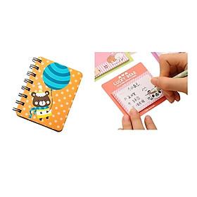 Sổ gáy lò xò mini kute + Thếp giấy note Hàn Quốc (Giao ngẫu nhiên)