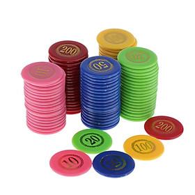 100 chiếc Quầy Tính Chip In Mặt Giá Hỗ Trợ Trị Nhựa cho Bingo Game