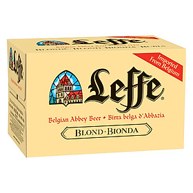 Thùng 24 Chai Bia Leffe Blonde (330ml / Chai) - Tặng 2 Ly Chính Hãng