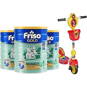 Bộ 3 Lon Sữa Bột Friso Gold 4 Cho Trẻ Từ 2-4 Tuổi 1.5kg + Tặng xe Scooter cho bé (giao màu ngẫu nhiên)