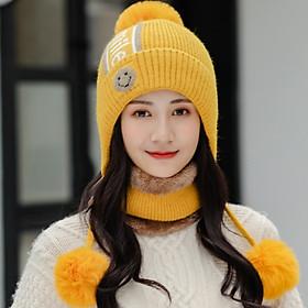 Nón len nữ kèm khăn phong cách Hàn, bộ khăn mũ len nữ thời trang mới