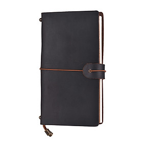 Refillable Leather Journal Travel Notebook Diary Business Notepad Card Holder Lined Blank Grid Paper with Elastic Strap
