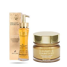 Combo Tinh chất và Kem dưỡng trắng da ngừa lão hoá 3W Clinic Collagen & Luxury Gold