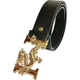 Thắt lưng nam thời trang cao cấp mặt chữ chạm rồng vàng sang trọng HR01 (dây đen)