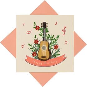 Thiệp Chúc Giấy Xoắn Thủ Công (Quilling Card) Đàn Guitar Chúc Mừng Sinh Nhật - Tặng Kèm Khung Giấy Để Bàn