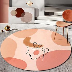 3d Abstract Figure Print Carpet Crystal Velvet Round Floor Pad Household Floor Cover