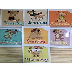 Days of the week Flashcards - Thẻ học tiếng Anh chủ đề các ngày trong tuần - 7 cards