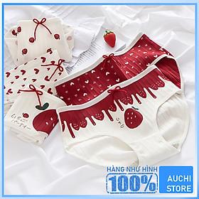 Bộ 4 Quần Lót Nữ Cotton Thun Gân Họa tiết Dâu Đỏ Red Bow -  Phong Cách Thiếu Nữ Thời Đại Nhật Hàn Dễ Thương - Vải Cotton Siêu Thoáng Mát Ôm Khít Nâng Form Vòng 3 - Hàng Chất Lượng Cao