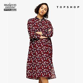 TOPSHOP - Đầm midi cổ bẻ tay dài PETITE Burgundy Floral Trapeze 26G04SBRG-015