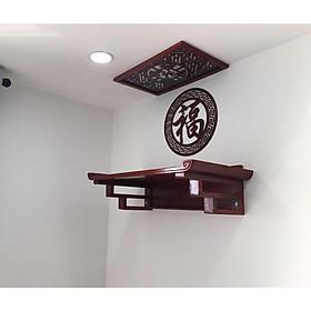 Bàn thờ treo tường gỗ sồi tặng ám khói và chữ trang trí ốp lưng chữ phúc hán BH617
