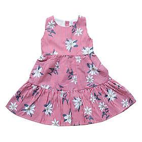 Hình đại diện sản phẩm Đầm Bé Gái Hai Tầng Sọc Đỏ Hoa Cuckeo Kids T121803