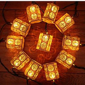Dây đèn led trang trí hình đèn lồng bằng gỗ GV-WLSL