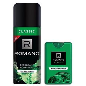 Combo Romano Classic: Xịt khử mùi toàn thân 150ml+ Nước hoa bỏ túi 18ml