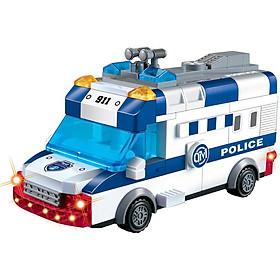 Đồ chơi giải trí- Đồ chơi giáo dục thông minh- Lắp ráp đồ chơi mô hình xe cứu hỏa, xe cảnh sát chạy tự động bằng pin có đèn pha và kèn
