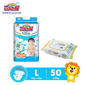 Tã Dán Goo.n Premium Cao Cấp Gói Cực Đại Size L50 (50 Miếng) + Tặng bịch khăn ướt Goo.N Premium 80 miếng cao cấp