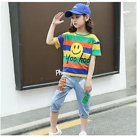 Set Bộ quần bò lửng và áo thun sọc ngang cho bé từ gái từ 3 đến 14 tuổi __ B0L19