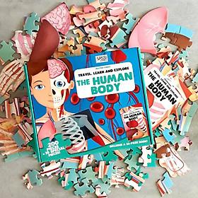 Bộ xếp hình 200 mảnh KHÁM PHÁ CƠ THỂ NGƯỜI của hãng Sassi Junior THE HUMAN BODY tặng kèm 10 mảnh ngoại cỡ