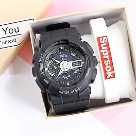 Đồng hồ thể thao thời trang nam nữ chạy kim giả điện tử GDT1 ,mặt tròn dây nhựa nhiều màu - không kèm vòng tay