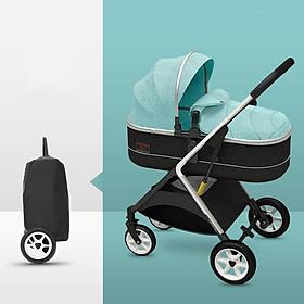 Xe đẩy trẻ em 2 chiều 3 tư thế gấp gọn, xe đẩy du lịch, xe đẩy nôi cho bé siêu nhẹ xanh, nặng 7KG