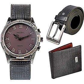 Souarts Birthday-Gift-for-Men Men-Gift-Set Watch Set for Men Artificial Leather Watch+Rachet Belt+Wallet Gift Set with Gift Box Organizer