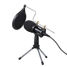Bộ Thu Âm KTV Karaoke Micro Có Dây Kèm Chân Đế Cho Điện Thoại/ PC (3.5mm)