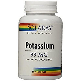 Solaray Potassium 99mg | Fluid & Electrolyte Balance Formula | Heart, Nerve & Muscle Function Support | 200ct, 200 Serv.
