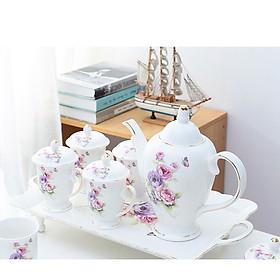 【Có ảnh thật】Bộ cốc chén sứ xương cao cấp - Bộ tách trà với họa tiết hoa hồng sống động viền vàng 24k mới nhất 2021